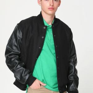 RSAWN402 Wool Club Jacket w/Leather Sleeves Thumbnail